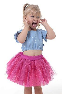 Saia de tutu pink com brilho - Quimera Kids