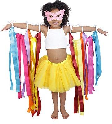 Look de fitas com saia de tutu amarela - Carnaval - Quimera Kids