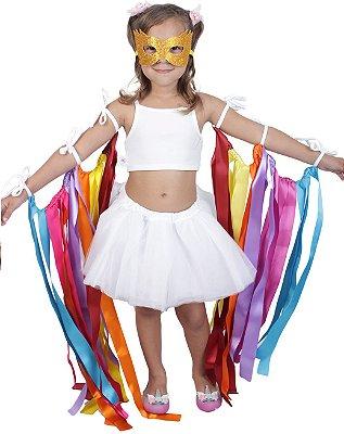 Look de fitas com saia de tutu branca - Carnaval - Quimera Kids