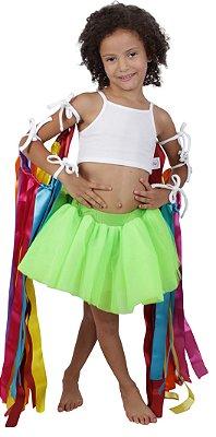 Look de fitas com saia de tutu verde limão - Carnaval - Quimera Kids