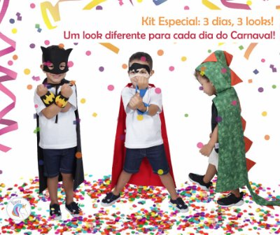Kit 3 dias = 3 looks diferentes: Batman, SuperHomem e Dinossauro - Quimera Kids