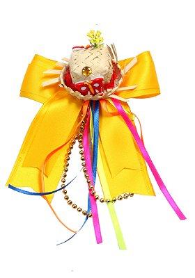 Laço junino GIRASSOL: amarelo com chapéu de palha e tic tac - Festa Junina