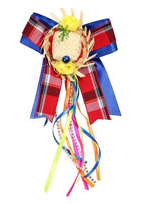 Laço junino QUADRILHA: azul com sobrelaço xadrez vermelho, chapéu de palha e tic tac- Festa Junina