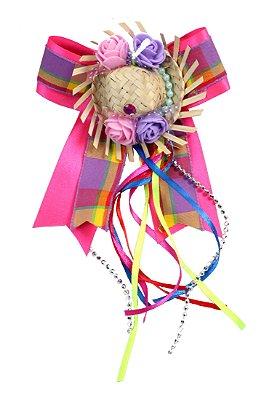 Laço junino CORREIO ELEGANTE: rosa e xadrez lilás com chapéu de palha e tic tac - Festa Junina