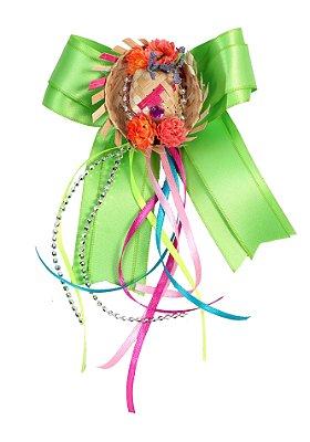 Laço junino CURAU: verde com chapéu de palha e tic tac  - Festa Junina