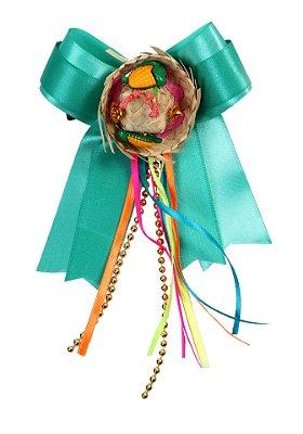 Laço junino MILHO VERDE: verde água, chapéu de palha e tic tac  - Festa Junina