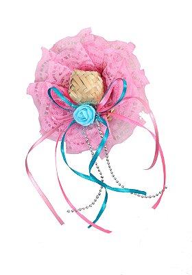 Tic tac PIPOCA: chapéu palha com renda rosa aplicada - Festa Junina