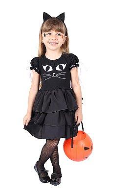 Vestido de Gato Preto - Halloween - QUIMERA KIDS