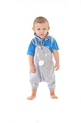 Conjunto Bolinha de Pelo Azul - jardinheira e camiseta
