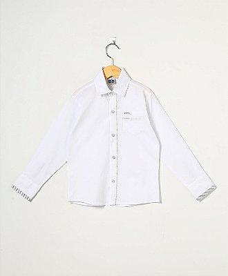 Camisa Manga Longa Bolso/Viés Lisa 100% Alg.