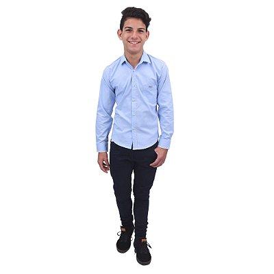 Camisa Manga Longa Azul Claro Detalhe Viés