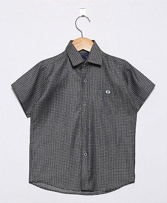 Camisa Manga Curta Estampada Cinza