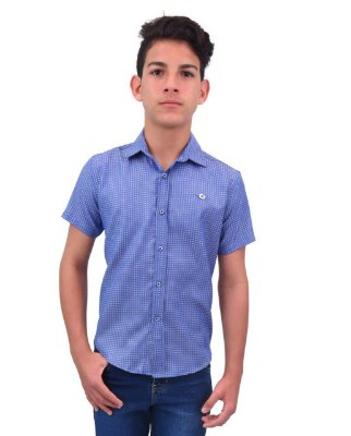 Camisa Manga Curta Estampada Azul