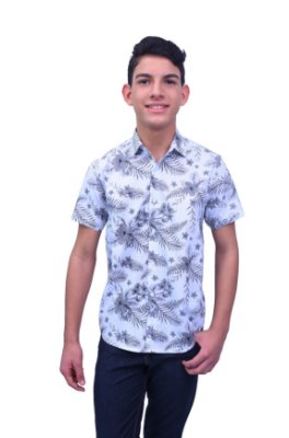 Camisa Manga Curta Estampa Tropical Branca