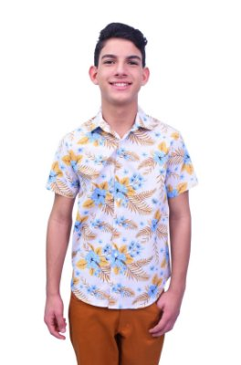 Camisa Manga Curta Estampa Tropical Creme