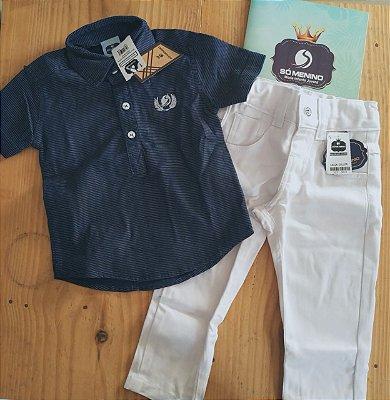 conjunto camisa bata jeans manga curta risco de jiz e calça collor