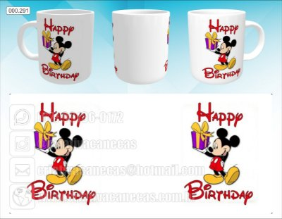 Caneca - Mickey - Happy Birthday