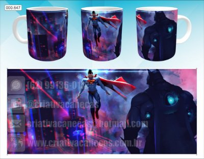 Caneca - Batman & Superman, Neon