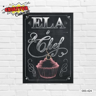 Placa decorativa - Ela é a Chef