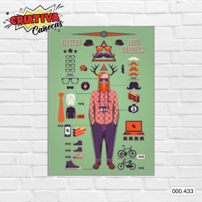 Placa decorativa - Hipster, Info Graphics