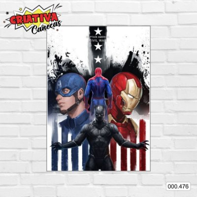 Placa decorativa - Capitão America - Guerra Civil