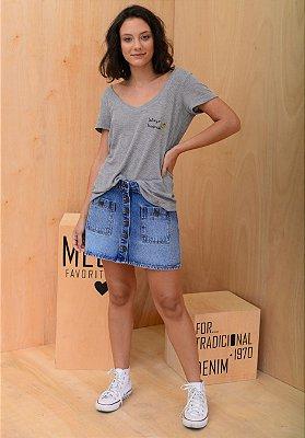 Saia jeans Bolso Frente