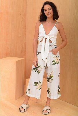 Calça pantacourt flor do verão