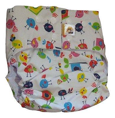 Fralda diurna passarinhos- Belinha Baby - acompanha absorvente