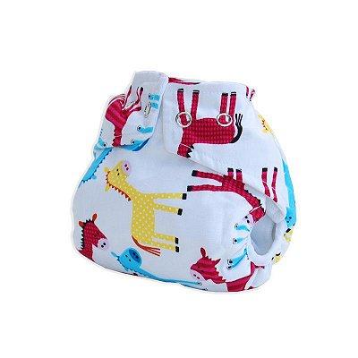 Fralda Ecológica Pequenitas Cover - Cavalinhos- Bebês Ecológicos com absorvente