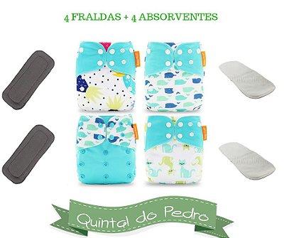 Kit Degustação  Azul - 4 fraldas e 4 absorventes