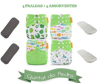 Kit Degustação  Verde - 4 fraldas e 4 absorventes