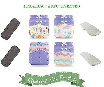 Kit Degustacao Roxinho - 4 fraldas e 4 absorventes