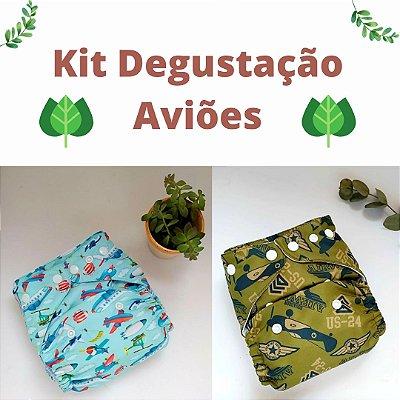 Kit Degustação Aviões - Leli Eco- 2 fraldas e 4 absorventes