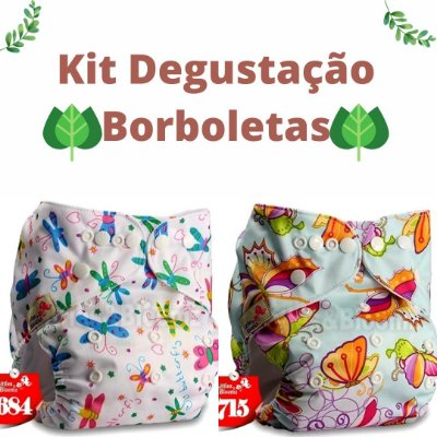 Kit Degustação Borboletinhas - Little e Bloomz- 2 fraldas e 2 absorventes