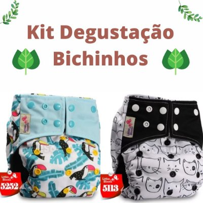 Kit Degustação Bichinhos- Little e Bloomz- 2 fraldas e 2 absorventes