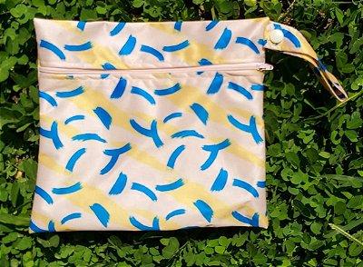 Sacola Impermeável para absorvente feminino Azul e amarela