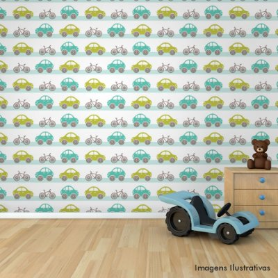 Papel de Parede Texturizado Autocolante Infantil Carrinho e Bike