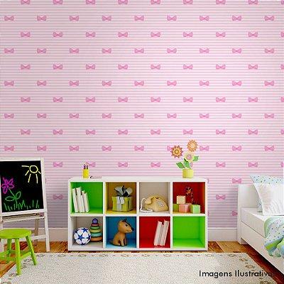 Papel de Parede Infantil Rosa de Lacinho Texturizado Autocolante