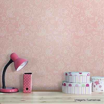 Papel de Parede Texturizado Autocolante Flores Rosa e Branco