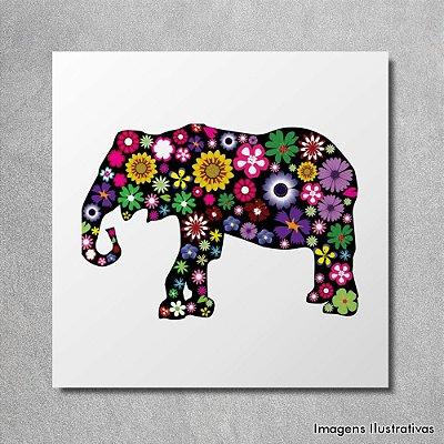 Quadro Infantil Elefante Colorido