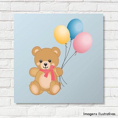 Quadro Decorativo Infantil Ursinho com Balões