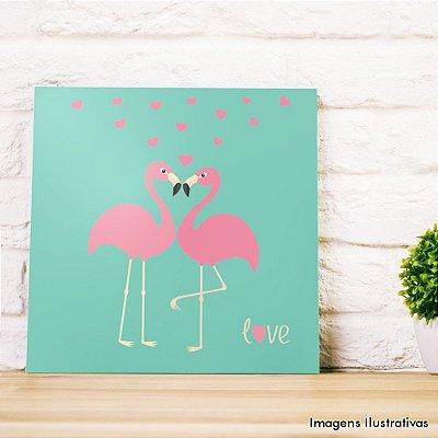Quadro Decorativo Casal de Flamingos