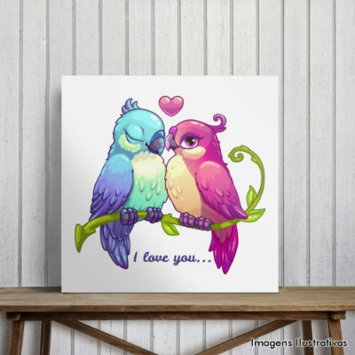 "Quadro Decorativo Pássaros ""I Love You"""