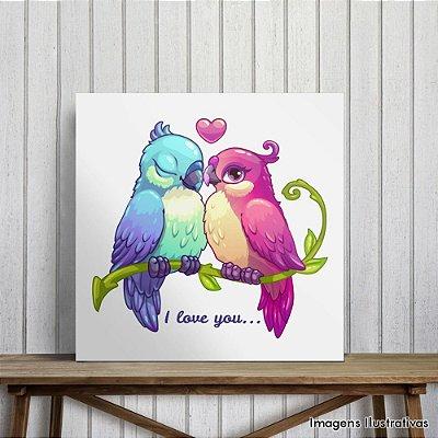 """Quadro Infantil Pássaros """"I Love You"""""""