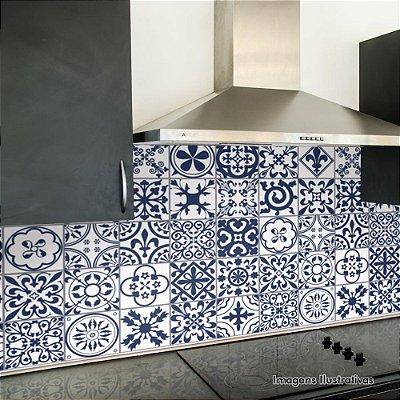 Adesivo de Azulejo Hidráulico Ladrilho Azul Marinho