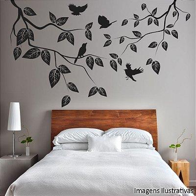 Adesivo de Parede Galhos, Folhas e Pássaros