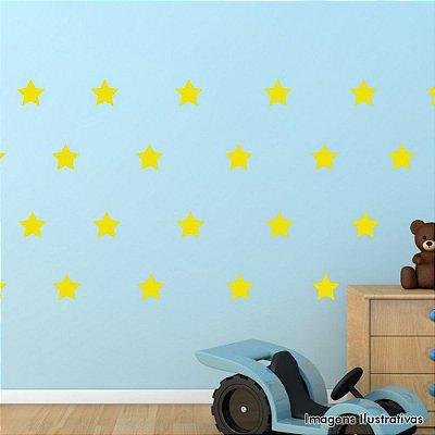 Adesivo de Parede Infantil Estrela - Cartela Com 30 Unidades