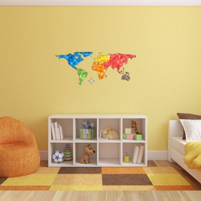 Adesivo de Parede Infantil Mapa Mundi Colorido