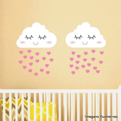 Adesivo de Parede infantil Nuvens Chuva Menina