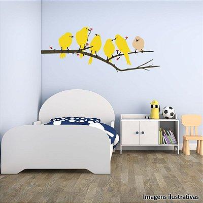 Adesivo de Parede Infantil Pássaros Amarelo